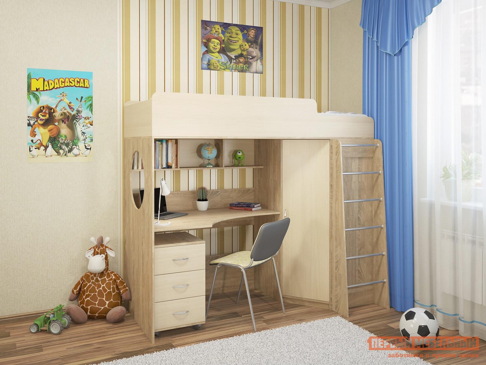 Кровать-чердак Милана Милана-3 Сонома Сонома / Дуб Молочный, Без матрасаКровати-чердаки<br>Габаритные размеры ВхШхГ 1730x1940x840 мм. Функциональный модуль в детскую, который значительно экономит пространство в небольшом помещении.  Все края имеют скругления, что очень важно в детской комнате, особенно во время активных игр. Модель сочетает в себе кровать-чердак с безопасным бортиком, письменный стол, мобильную тумбу с тремя ящиками и угловой шкаф.  Над столом есть полки для книг и учебных принадлежностей.  В шкафу располагается штанга и полки.  Широкая лестница позволит легко взобраться на второй этаж и может служить игровым элементом.  В боковине модуля есть круглое окошко, которое будет пропускать свет.  Размер спального места — 800 х 1900 мм. Основание кровати — настил из ЛДСП. Модуль универсальный: его можно собрать как на правую, так и на левую сторону. Обратите внимание! Необходимо выбрать удобный для вас вариант покупки кровати: с матрасом или без него.  Ознакомиться с моделью матраса, который входит в комплект кровати, вы можете в разделе «Аксессуары». Изделие изготавливается из ЛДСП толщиной 16 мм.  Края обработаны кромкой ПВХ 0,4 и 2 мм.  Перекладины у лестницы выполнены из хромированного металла.<br><br>Цвет: Светлое дерево<br>Высота мм: 1730<br>Ширина мм: 1940<br>Глубина мм: 840<br>Кол-во упаковок: 6<br>Форма поставки: В разобранном виде<br>Срок гарантии: 24 месяца<br>Тип: Угловые<br>Назначение: Для подростков<br>Материал: Дерево<br>Материал: ЛДСП<br>Размер: Спальное место 80Х190<br>С ящиками: Да<br>Со шкафом: Да<br>С полками: Да<br>С рабочей зоной: Да<br>Пол: Для девочек<br>Пол: Для мальчиков