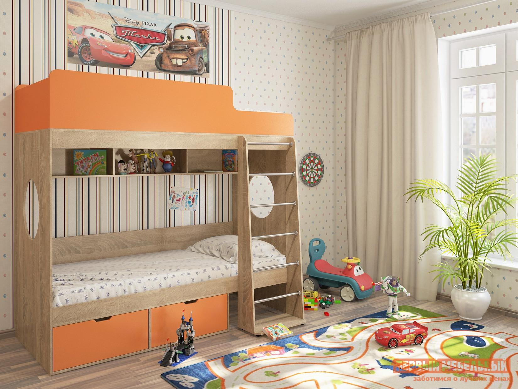 Двухъярусная кровать Милана Милана-2 Сонома двухъярусная кровать милсон милана duo 200 х 80 см красная