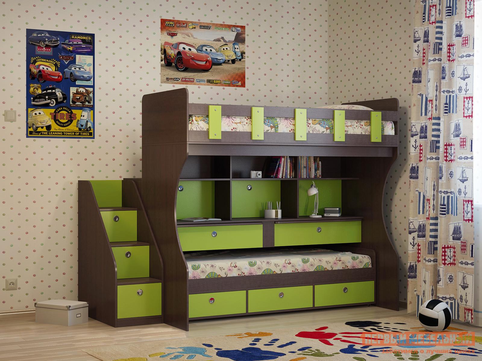 Детская двухъярусная выкатная кровать с рабочим местом Милана Милана-10 Венге детская двухъярусная кровать с бортами