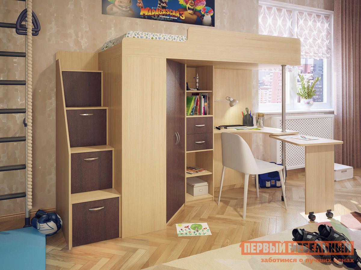 Детская кровать-чердак с лестницей-комодом Милана Милана-6 Дуб