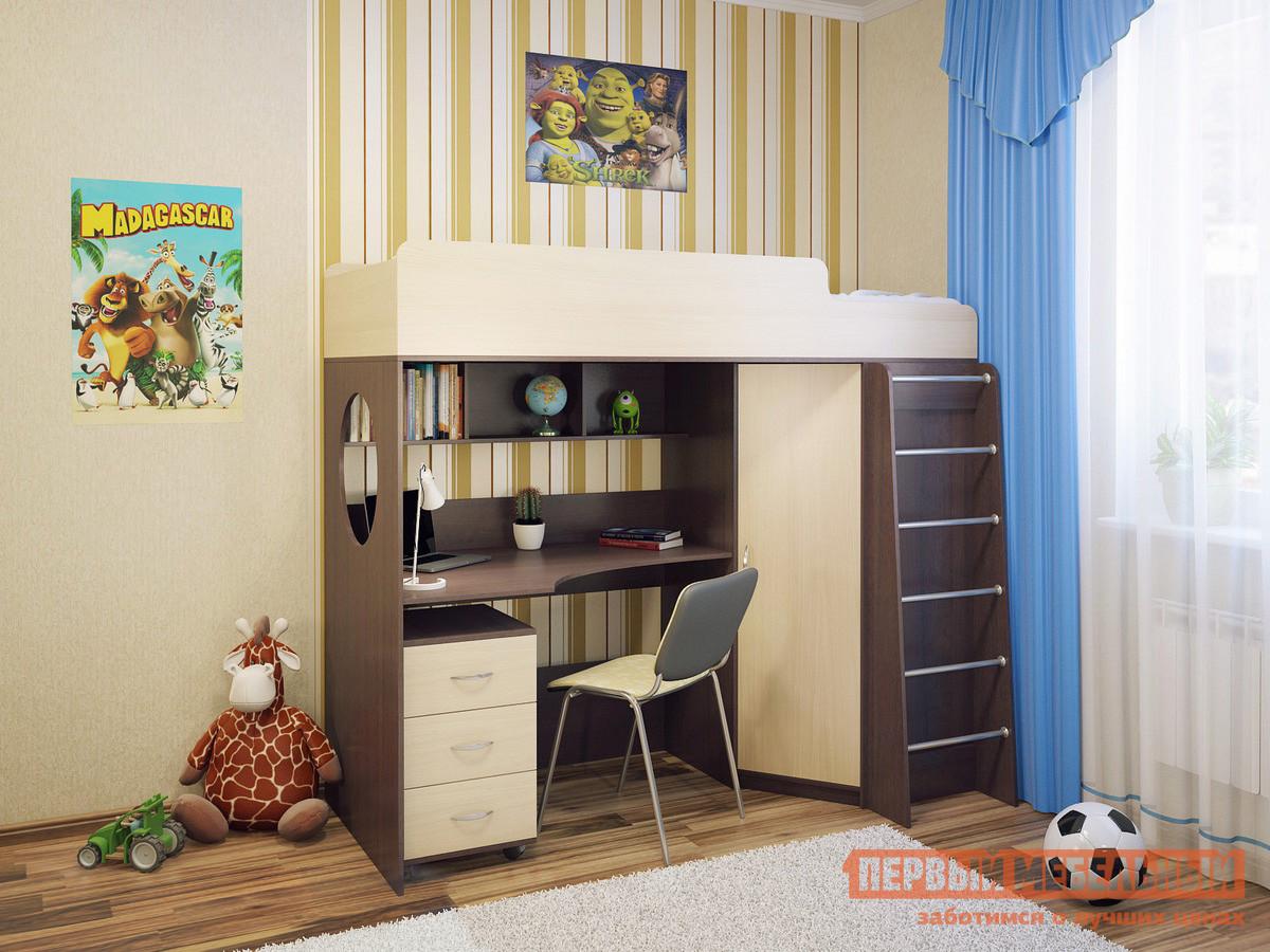 Детская кровать-чердак с рабочей зоной и шкафом Милана Милана-3 Венге
