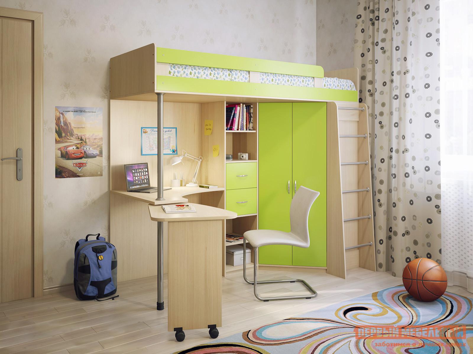 Детская кровать-чердак с рабочей зоной Милана Милана-5 Дуб