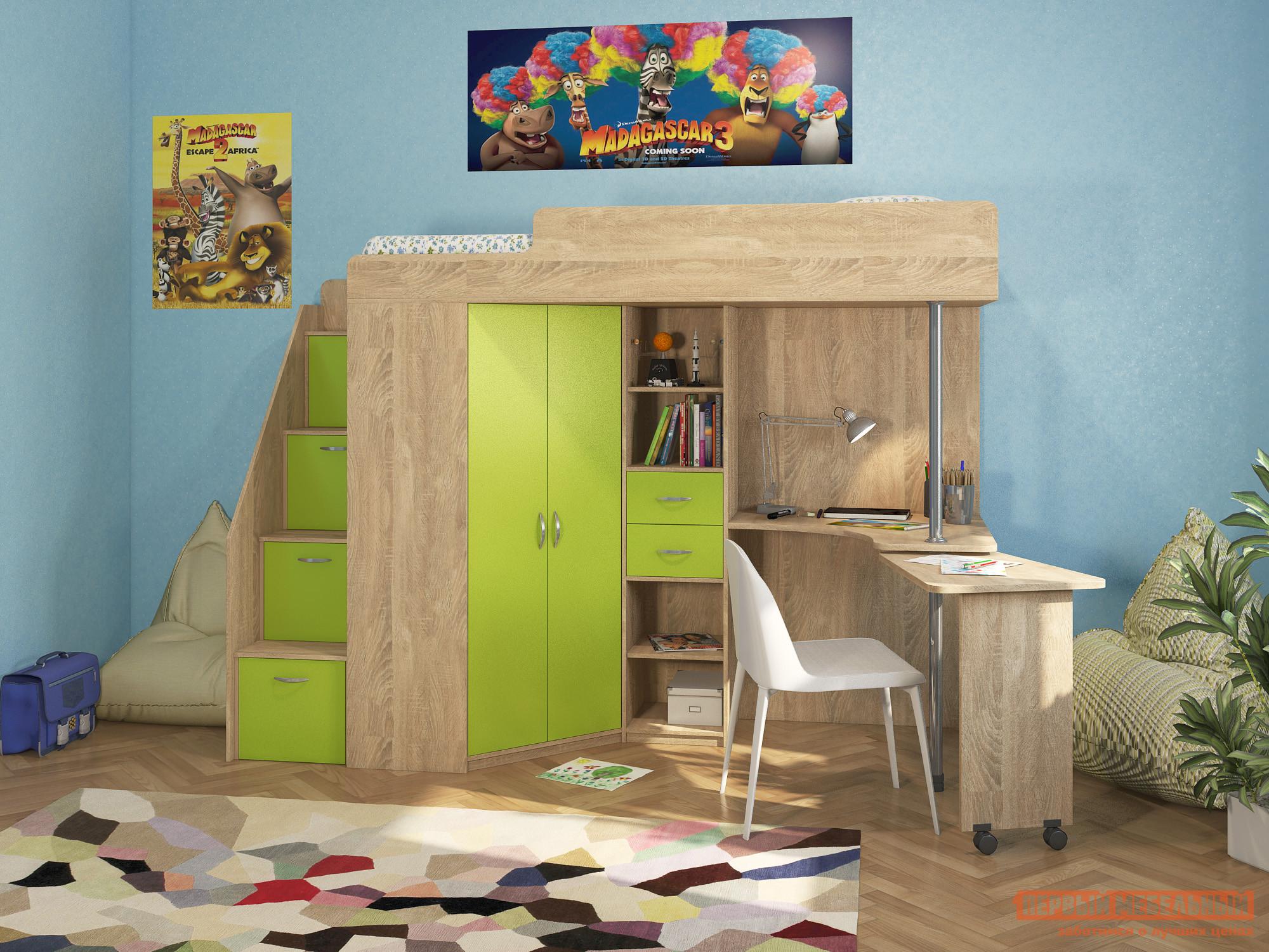 Детская кровать-чердак с лестницей-ящиками Милана Милана-6 Сонома