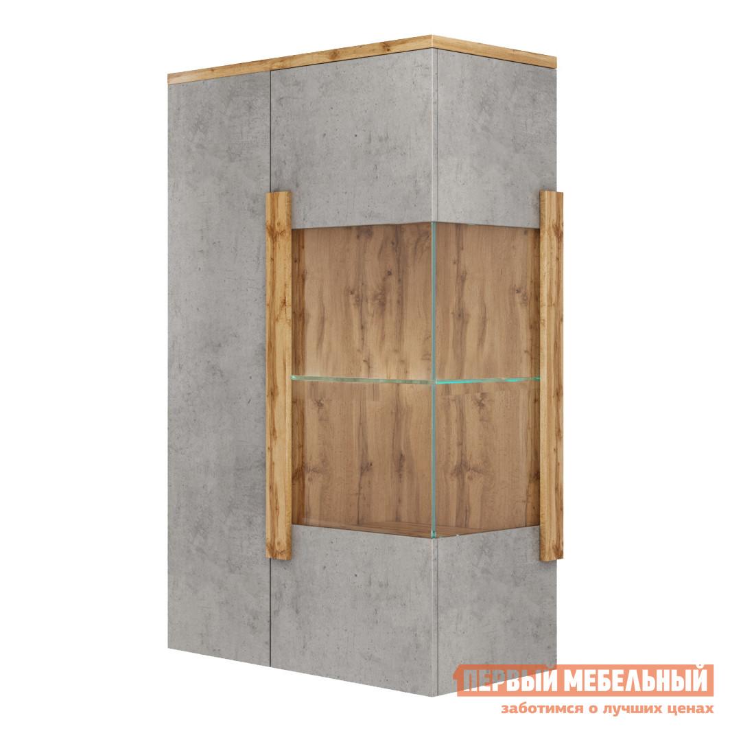 Шкаф-витрина  Витрина навесная 2002М1 Дуб Ватан / Бетон Чикаго, Без подсветки, С топом-накладкой