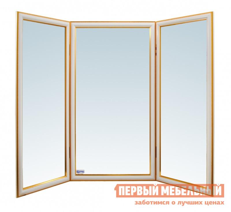 Настенное зеркало Зеркальные грани И19 / И20 / И21 Багет белый / золотистый (пластик)