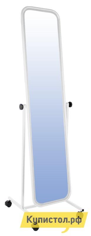 Напольное зеркало Зеркальные грани НБ-08 Белая рама (металл)
