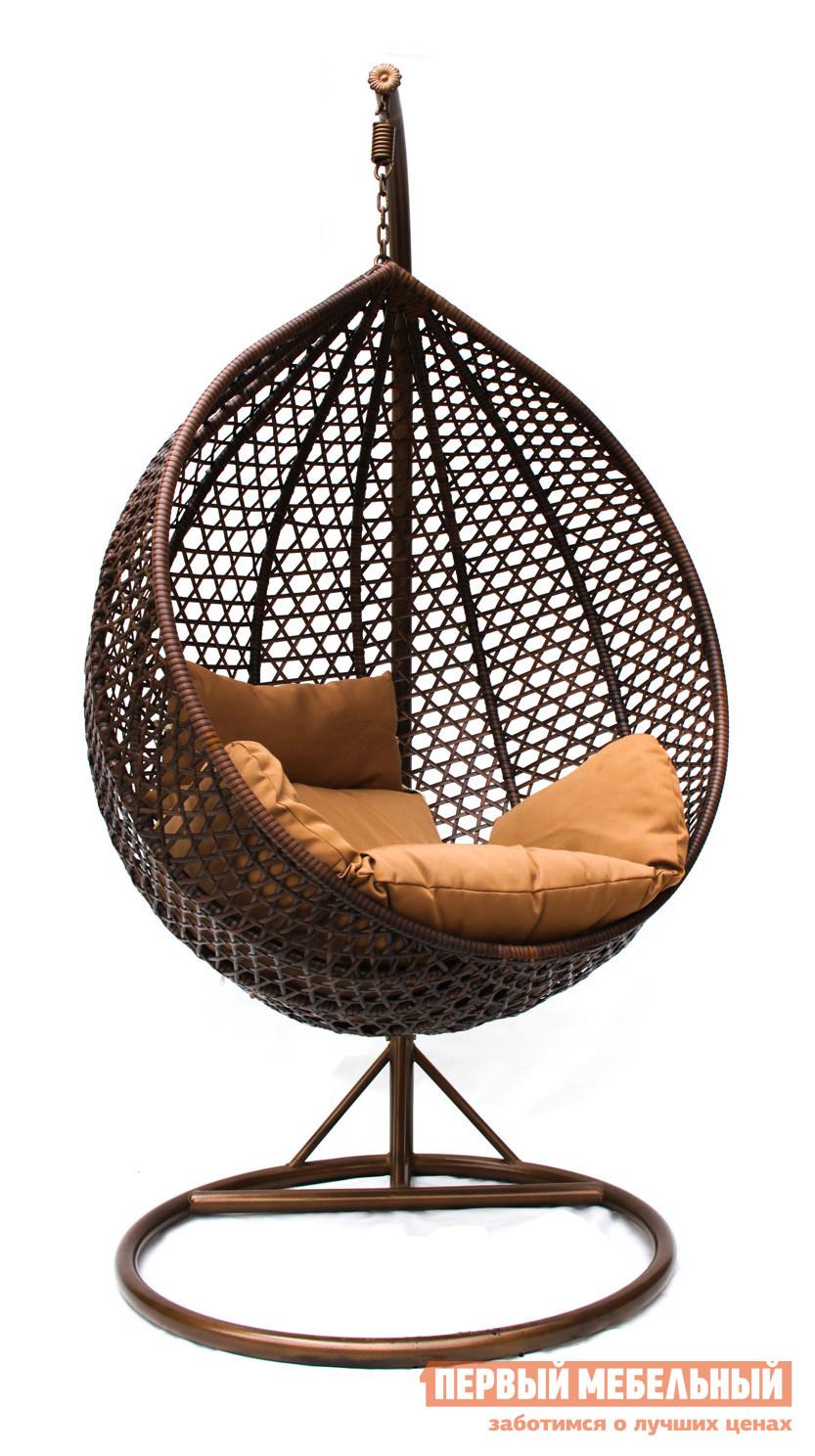 Подвесное кресло Kvimol KM-0002 Коричневый иск. ротанг/Коричневая подушка, Средняя корзина