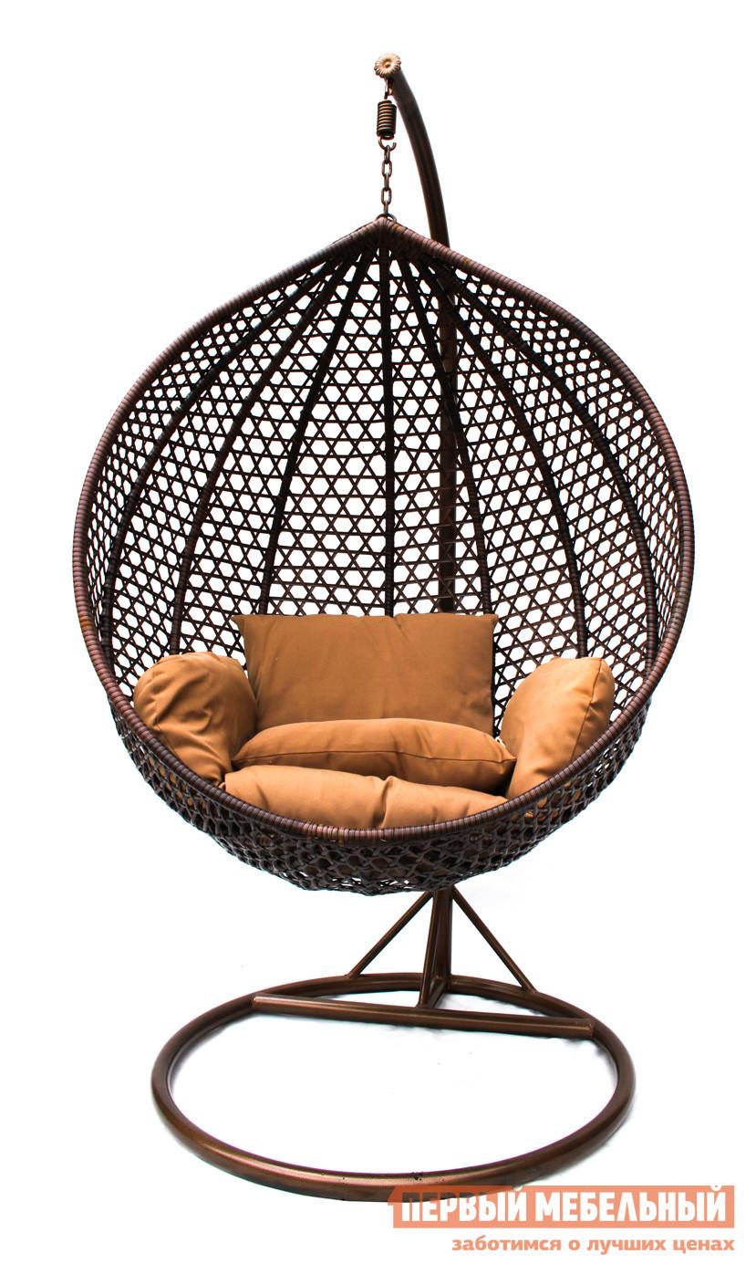 Подвесное кресло Kvimol KM-0002 Коричневый иск. ротанг/Коричневая подушка, Малая корзина