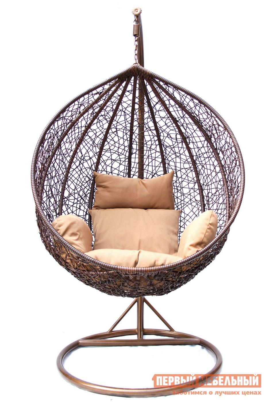 Подвесное кресло Kvimol KM-0001 (темный) Темный иск. ротанг/Коричневая подушка, Средняя корзина