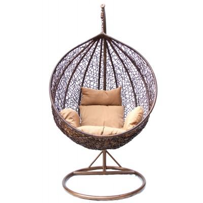 Подвесное кресло Kvimol KM-0001 (темный) Темный иск. ротанг/Коричневая подушка, Малая корзина