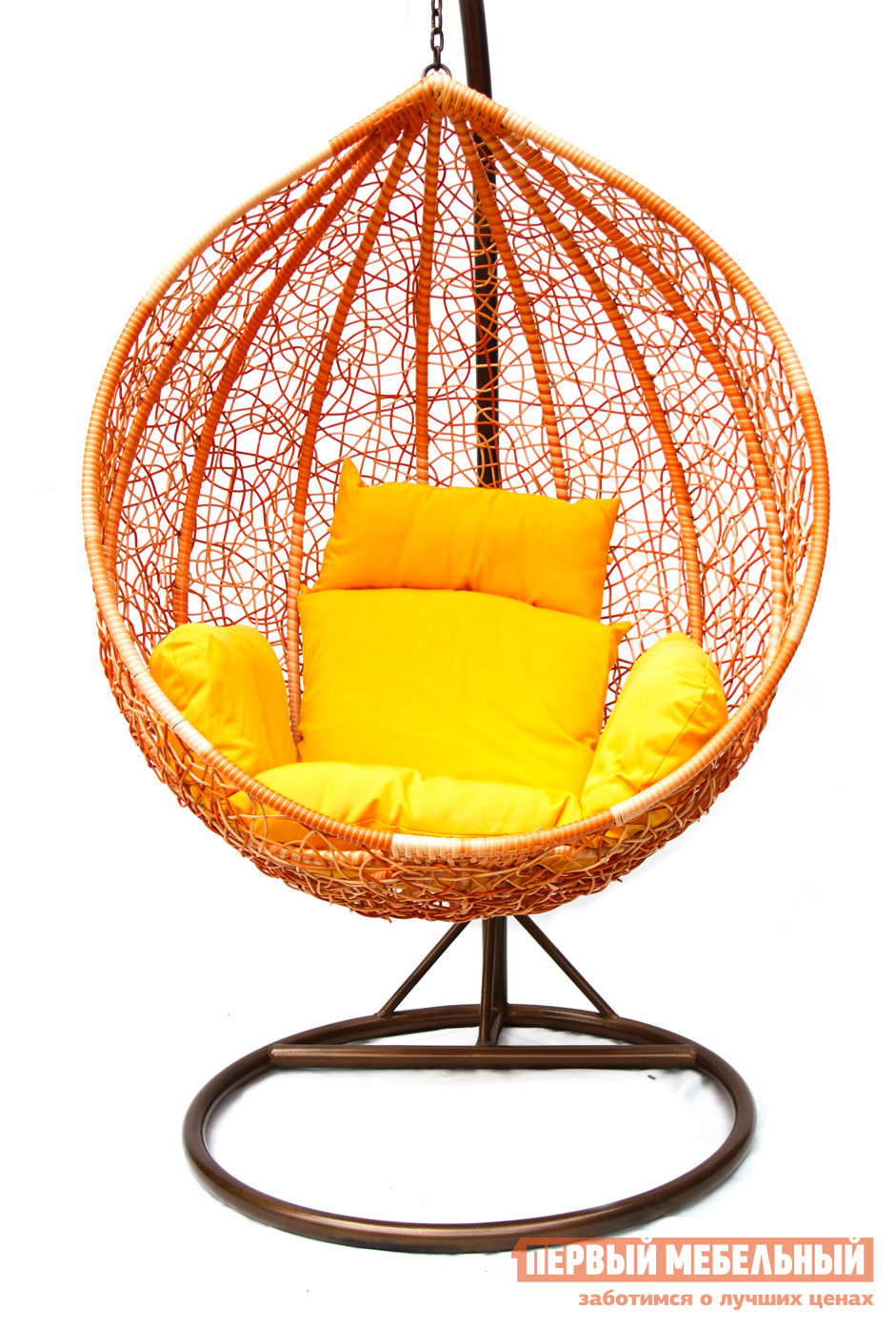 Подвесное кресло Kvimol KM-0001 (рыжий) Рыжий иск. ротанг/Желтая подушка, Большая корзина