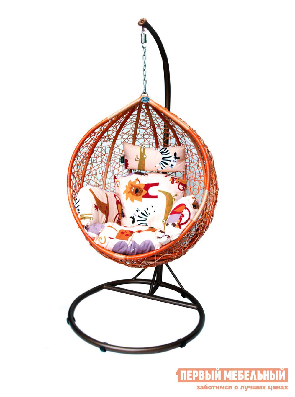 Подвесное кресло Kvimol KM-0001 (рыжий, подушка со зверушками) Рыжий иск. ротанг / Подушка со зверушками