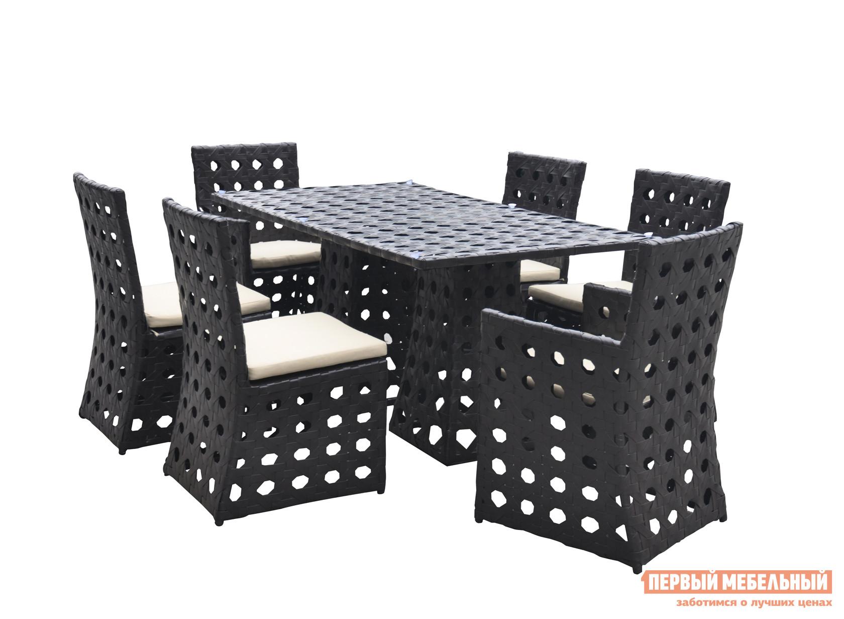 Комплект плетеной мебели  KM0013 Черный иск. ротанг крупное плетение