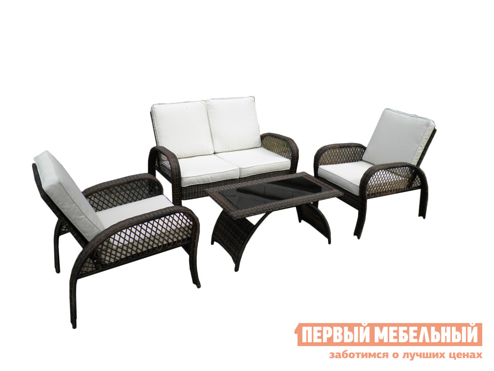 Комплект плетеной мебели Kvimol КМ-0388 Коричневый с переходами иск. ротанг / Светлые подушкиКомплекты плетеной мебели<br>Габаритные размеры ВхШхГ xx мм. Современный стильный комплект садовой мебели.  Он рассчитан на четыре персоны и поможет организовать уютную зону отдыха для всей семьи. В набор входят:2 кресла (ВхШхГ): 860 х 700 х 860 мм. Диван двухместный (ВхШхГ): 860 х 1230 х 860 мм. Столик (ВхШхГ): 450 х 900 х 500 мм. Изделия выполнены из практичного современного материала — искусственного ротанга на стальном каркасе.  Столешница столика покрыта стеклом черного цвета толщиной 5 мм.  Подушки на диване и креслах выполнены из влагостойкой ткани и имеют толщину 8 см.<br><br>Цвет: Белый<br>Цвет: Коричневый<br>Кол-во упаковок: 1<br>Форма поставки: В собранном виде<br>Срок гарантии: 1 год<br>Тип: Плетеная<br>Тип: С журнальным столом<br>Материал: Искусственный ротанг<br>Материал: Ротанг<br>Вместимость: На 4 персоны<br>С подлокотниками: Да<br>С подушкой: Да