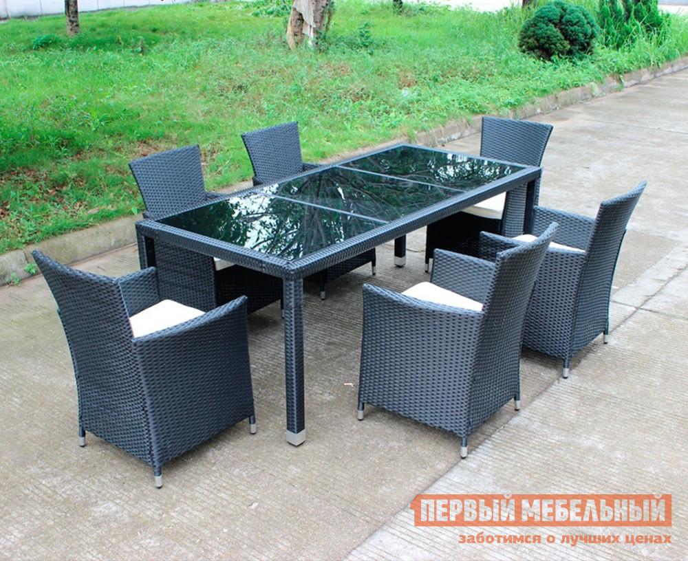 Комплект плетеной мебели Kvimol КМ-1312 (Стол КМ-0312 + 6 кресел КМ-0317) плетеное кресло ротанговое kvimol км 0317