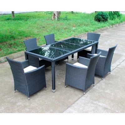Комплект плетеной мебели Kvimol КМ-1312 (Стол КМ-0312 + 6 кресел КМ-0317) Черный иск. ротанг