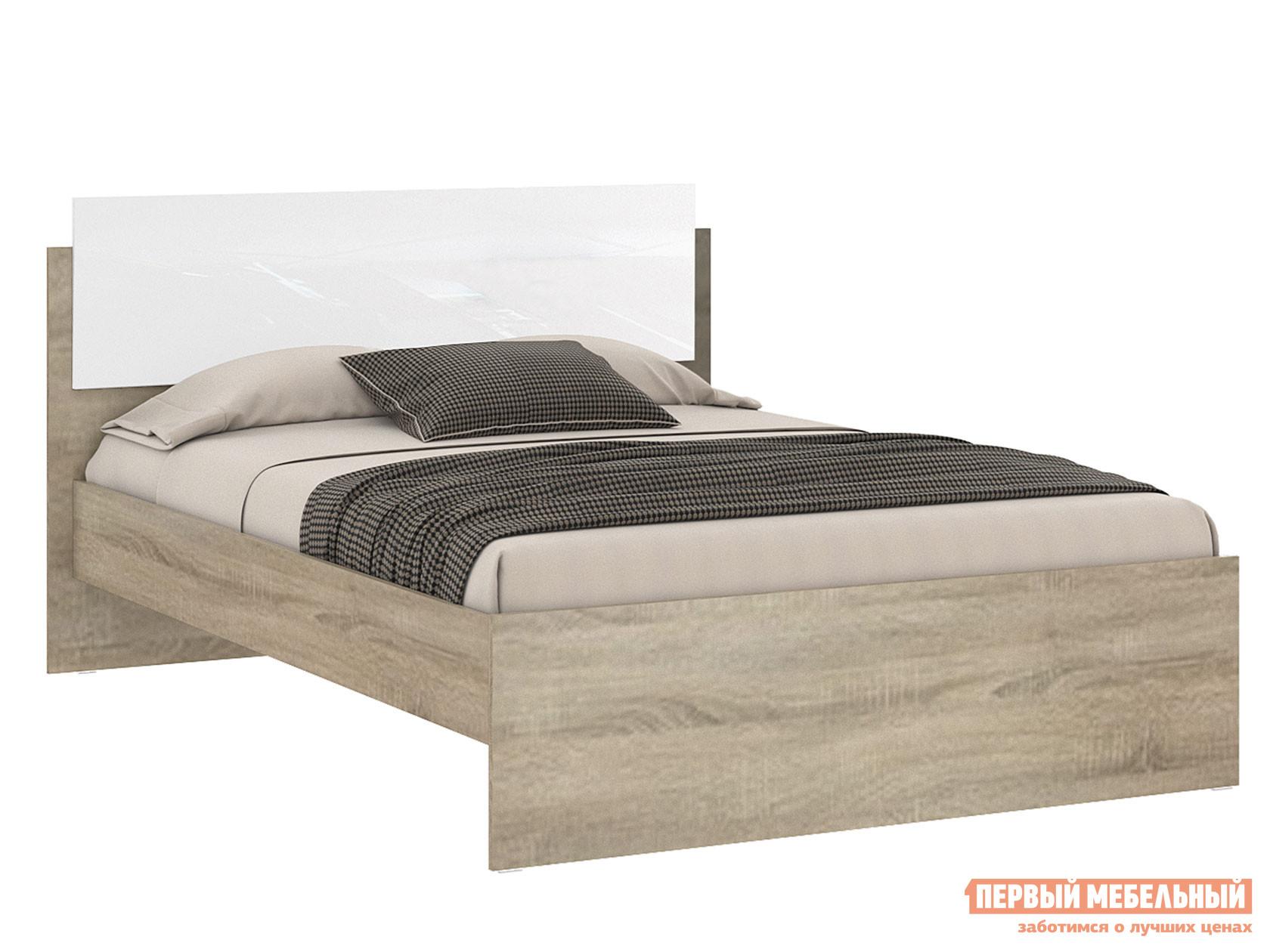 Двуспальная кровать  Бланка 72250071 / 72250072 Дуб Сонома Белый глянец, 1400 Х 2000 мм НКМ 107621