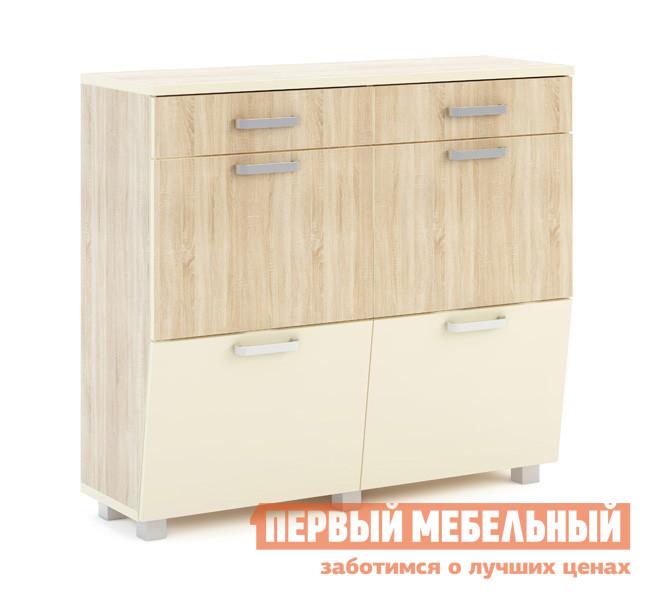 Обувница МСТ Оливия модуль №29 Дуб Сонома светлый / Жемчуг глянец
