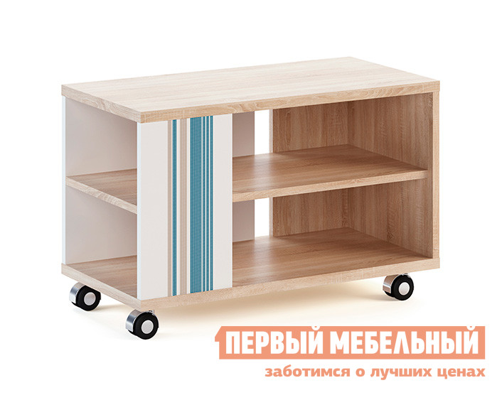 Журнальный столик МСТ Лион модуль 20 Дуб Сонома светлый/Белый/Джинс