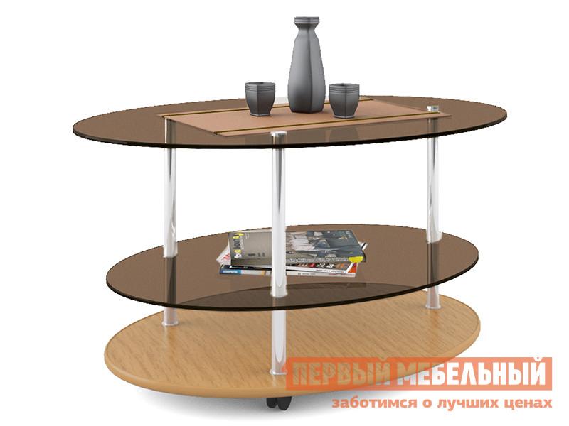 Овальный журнальный столик стеклянный МСТ Валерия 2