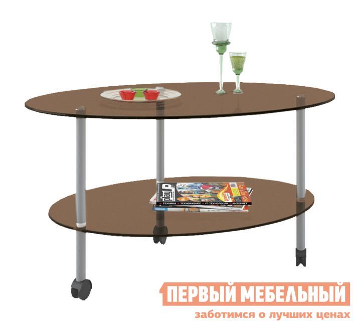 Овальный журнальный стол стеклянный МСТ Валерия 1
