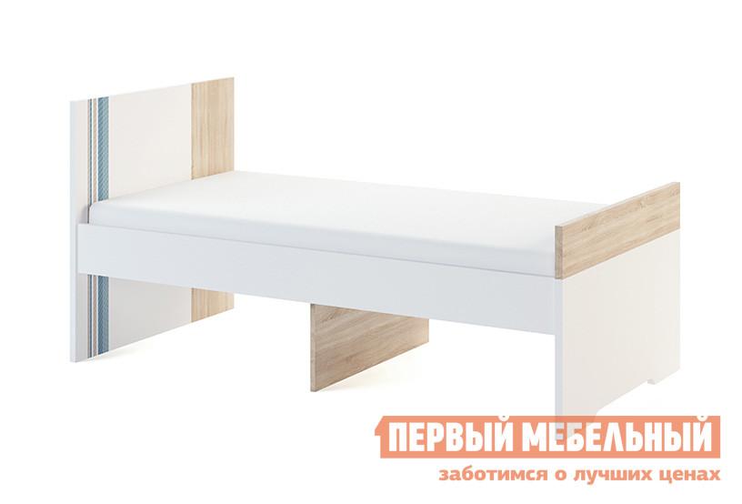 Детская кровать МСТ Лион модуль 1 + Лион модуль 2 Дуб Сонома светлый/Белый/Джинс