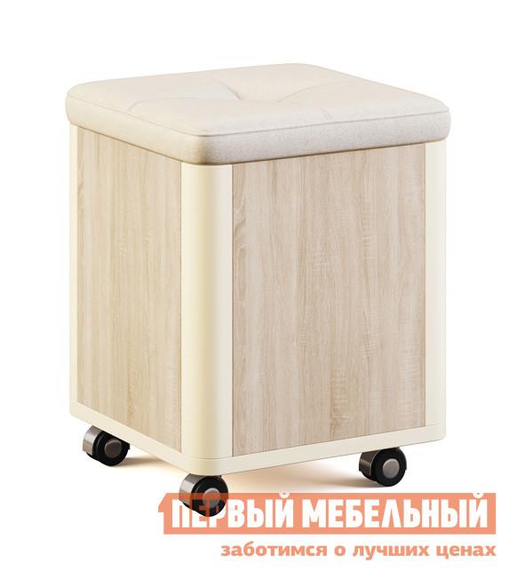 Пуфик МСТ Оливия Модуль №8 Дуб Сонома светлый / Жемчуг глянец, иск.кожа Жемчуг