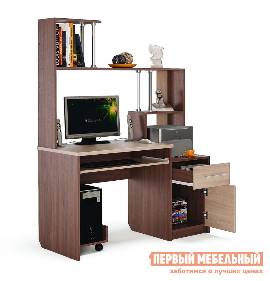 Компьютерный стол МСТ Монако Ясень Шимо темный / светлыйКомпьютерные столы<br>Габаритные размеры ВхШхГ 1705x1200x600 мм. Компьютерный стол с вместительной надстройкой.  Конструкция стола поможет вам сделать рабочее место удобным и аккуратно разместить большое количество вещей от книг до оргтехники.  Для вашего удобства стол создан универсальным и может быть собран как на правую, так и на левую сторону. Внутренний размер выдвижного ящика — 311 х 500 мм, что позволит разместить в нем канцелярские принадлежности, документы формата А4 и необходимые мелочи. Размер ниши над выдвижными ящиком (ВхШхГ): 466 х 369 х 575 мм. Размер ниши под монитор (ВхШ): 575 х 780 мм, размер диагонали — 970 мм. Рисунок на дверках нанесен с помощью УФ-плоттера.  Эта технология обеспечивает яркость, четкость и долговечность изображения. Обратите внимание, подставка под системный блок в стоимость не входит.  Ее необходимо приобретать отдельно. Стол изготавливается из ЛДСП 16 мм, столешница — ЛДСП 25 мм.  Края обработаны кромкой ПВХ 2 и 0,4 мм.<br><br>Цвет: Ясень Шимо темный / светлый<br>Цвет: Темное-cветлое дерево<br>Высота мм: 1705<br>Ширина мм: 1200<br>Глубина мм: 600<br>Кол-во упаковок: 2<br>Форма поставки: В разобранном виде<br>Срок гарантии: 24 месяца<br>Тип: Прямые<br>Материал: Деревянные, из ЛДСП<br>Размер: Большие, Шириной 120 см<br>Особенности: С надстройкой, С полками