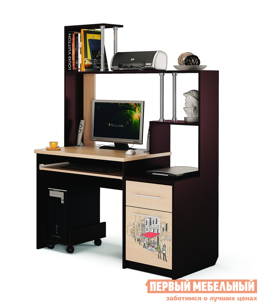 Компьютерный стол МСТ Монако Дуб венге / Дуб савонаКомпьютерные столы<br>Габаритные размеры ВхШхГ 1705x1200x600 мм. Компьютерный стол с вместительной надстройкой.  Конструкция стола поможет вам сделать рабочее место удобным и аккуратно разместить большое количество вещей от книг до оргтехники.  Для вашего удобства стол создан универсальным и может быть собран как на правую, так и на левую сторону. Внутренний размер выдвижного ящика — 311 х 500 мм, что позволит разместить в нем канцелярские принадлежности, документы формата А4 и необходимые мелочи. Размер ниши над выдвижными ящиком (ВхШхГ): 466 х 369 х 575 мм. Размер ниши под монитор (ВхШ): 575 х 780 мм, размер диагонали — 970 мм. Рисунок на дверках нанесен с помощью УФ-плоттера.  Эта технология обеспечивает яркость, четкость и долговечность изображения. Обратите внимание, подставка под системный блок в стоимость не входит.  Ее необходимо приобретать отдельно. Стол изготавливается из ЛДСП 16 мм, столешница — ЛДСП 25 мм.  Края обработаны кромкой ПВХ 2 и 0,4 мм.<br><br>Цвет: Дуб венге / Дуб савона<br>Цвет: Темное-cветлое дерево<br>Высота мм: 1705<br>Ширина мм: 1200<br>Глубина мм: 600<br>Кол-во упаковок: 2<br>Форма поставки: В разобранном виде<br>Срок гарантии: 24 месяца<br>Тип: Прямые<br>Материал: Деревянные, из ЛДСП<br>Размер: Большие, Шириной 120 см<br>Особенности: С надстройкой, С полками