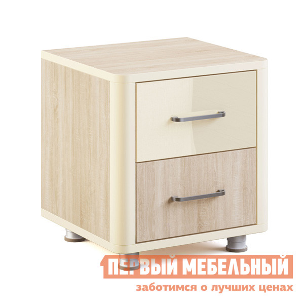 Прикроватная тумбочка МСТ Оливия модуль №4 Дуб Сонома светлый / Жемчуг глянец