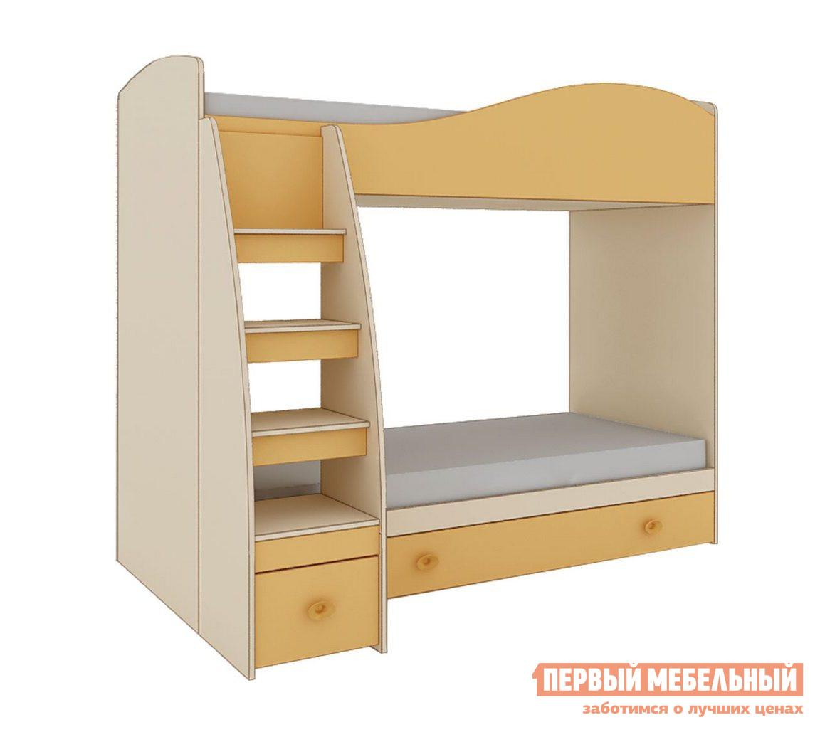 Кровать Кентавр 2000 Элион Кровать 2-х ярусная 80*190  Дуб млечный/ Оранжевый от Купистол