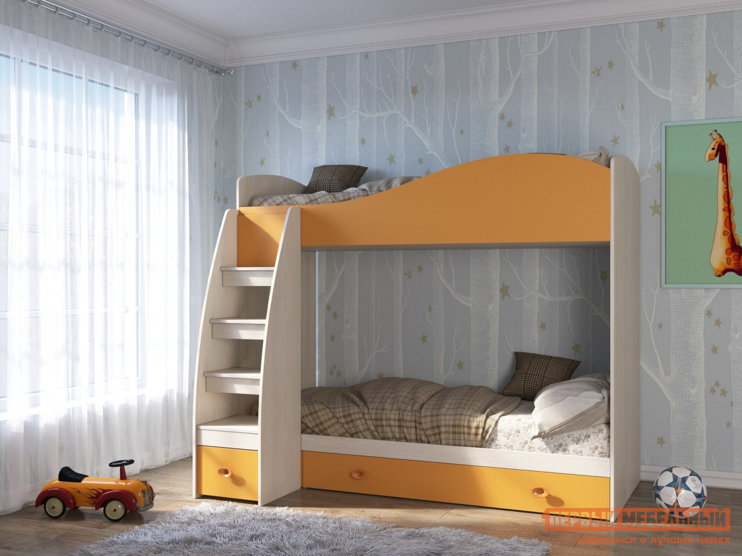 Двухъярусная кровать со ступеньками-ящиками ТД Арника Элион Кровать 2-х ярусная 80*190