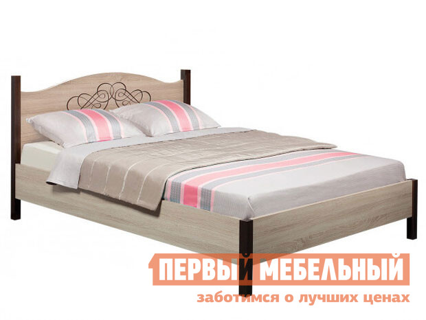 Двуспальная кровать  ADELE 2 Дуб Сонома / Орех Шоколадный, 1800 Х 2000 мм, С металлическим основанием
