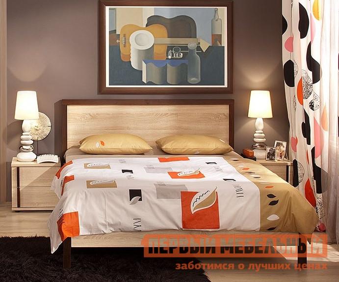 Кровать Глазов-Мебель BAUHAUS 1/2/3 1400 Х 2000 мм, Дуб Сонома / Орех Шоколадный, Без ортопедического основания