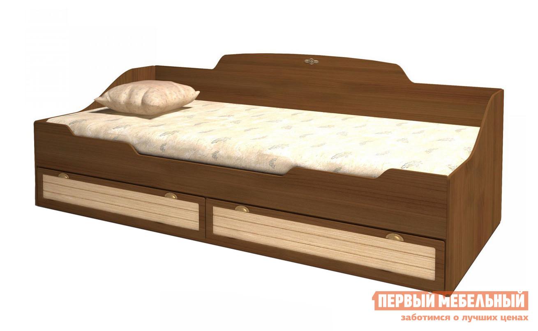 Кровать Интеди ИД 01.95а Ноче Гварнери / Штрих Лак, Без матрасаОдноэтажные кровати<br>Габаритные размеры ВхШхГ 682x1932x860 мм. Удобная кровать для детской или подростковой комнаты — отличный вариант меблировки уютной и комфортной спальной зоны.  Модель имеет высокие спинку и боковины, а так же небольшие выступы в передней части, служащие в роли ограничителей. В основании кровати располагаются два выдвижных ящика для постельных принадлежностей. Основание кровати — настил из листа ДВП.  Размер спального места — 800 х 1900 мм. Обратите внимание! Необходимо выбрать удобный для вас вариант покупки кровати: с матрасом или без него.  Ознакомиться с матрасом, который входит в комплект кровати, вы можете в разделе «Аксессуары». Корпус кровати выполняется из ЛДСП, фасады ящиков — рамочный профиль и вставки из МДФ.  Декоративные детали — металл под бронзу.<br><br>Цвет: Ноче Гварнери / Штрих Лак<br>Цвет: Темное-cветлое дерево<br>Высота мм: 682<br>Ширина мм: 1932<br>Глубина мм: 860<br>Кол-во упаковок: 1<br>Форма поставки: В разобранном виде<br>Срок гарантии: 24 месяца<br>Тип: Угловые<br>Особенности: С ящиком для белья, С матрасом<br>Возраст: От 3-х лет, Подростковые<br>Пол: Для девочек, Для мальчиков