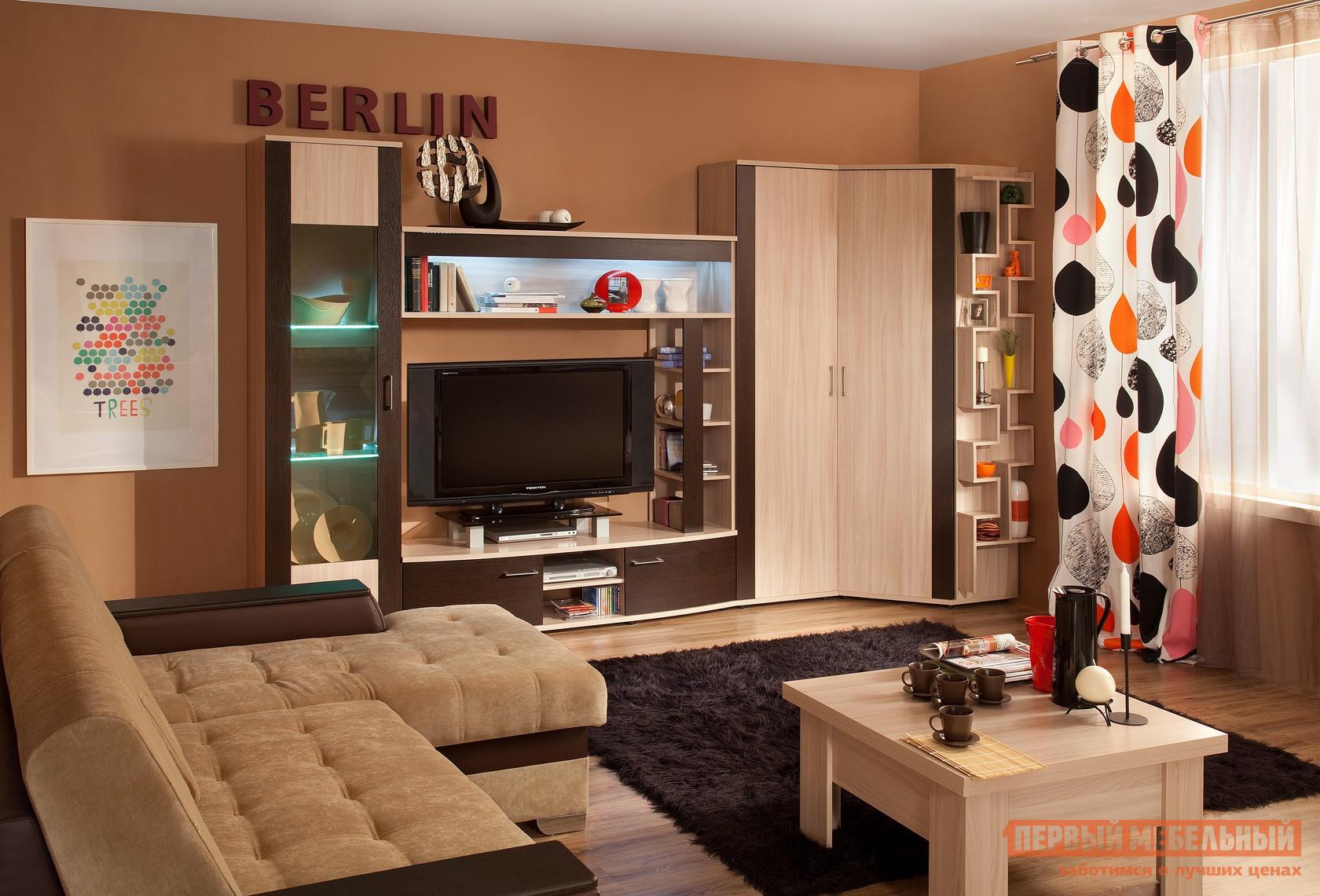 Современная стенка в гостиную с угловым шкафом ТД Арника Берлин ГК6