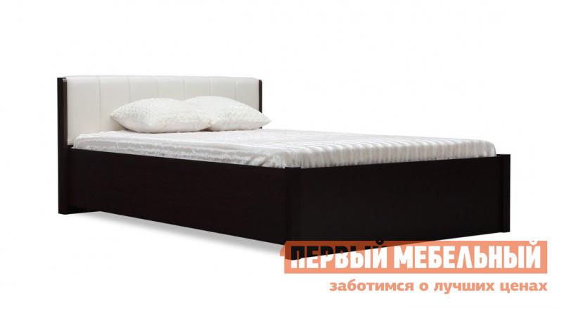 Фото Полутороспальная кровать Глазов-Мебель BERLIN33 Венге / Винил кожа, Спальное место 1400 X 2000 мм, С основанием. Купить с доставкой