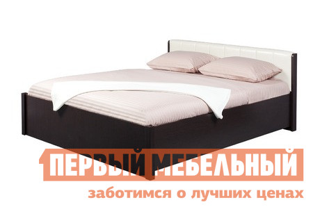 Полутороспальная кровать Глазов-Мебель BERLIN 33 Кровать (металлические ламели) Венге / Винил кожа, Спальное место 1400 X 2000 мм, С основанием