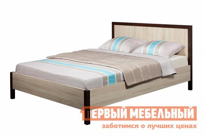 Фото Полутороспальная кровать Глазов-Мебель BAUHAUS 3/4 Дуб Сонома / Орех Шоколадный, 1200 Х 2000 мм, Без основания. Купить с доставкой