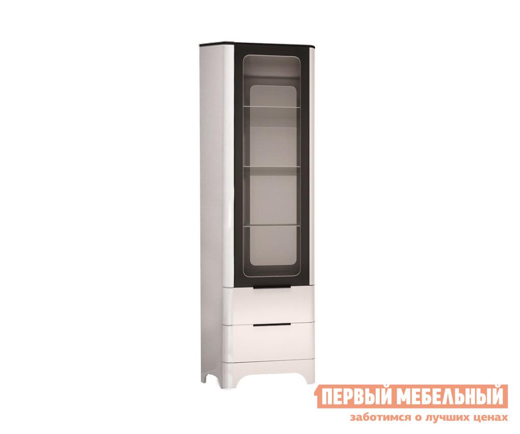 Шкаф-витрина  Танго 24 Белый, черный матовый / Белый глянец