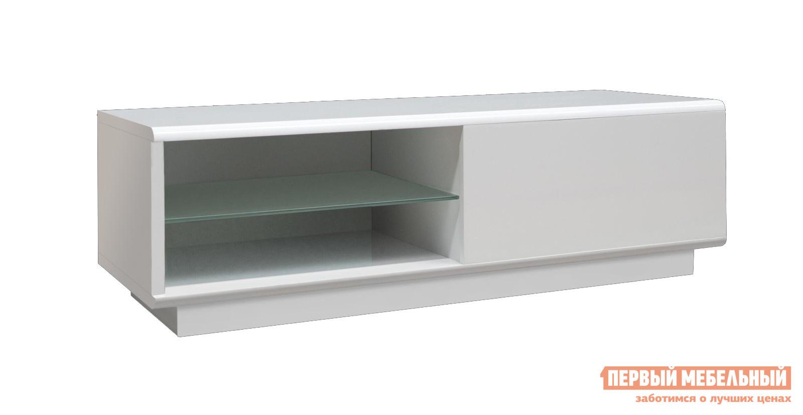 ТВ-тумба Akur Design Studio Decollo mini Белый глянецТВ-тумбы<br>Габаритные размеры ВхШхГ 370x1206x440 мм. Стильная тумба прекрасно дополнит интерьер в стиле хай-тек или минимализм.  Модель оснащена выдвижным ящиком, который открывается с помощью легкого нажатия на фасад. Размер ящика составляет (ВхШхГ): 255х570х350 мм. Также тумба оснащена двумя отделениями (ВхШхГ): 122х570х420 мм со стеклянной полкой толщиной 8 мм посередине. Максимальная нагрузка на тумбу — 60 кг. Обратите внимание! Данная тумба представлена только в правой ориентации, то есть ящик справа, а полки слева.<br><br>Цвет: Белый глянец<br>Цвет: Белый<br>Высота мм: 370<br>Ширина мм: 1206<br>Глубина мм: 440<br>Форма поставки: В разобранном виде<br>Срок гарантии: 10 лет<br>Материал: Деревянные, Стеклянные, из МДФ<br>Размер: Маленькие<br>Особенности: Глянцевые