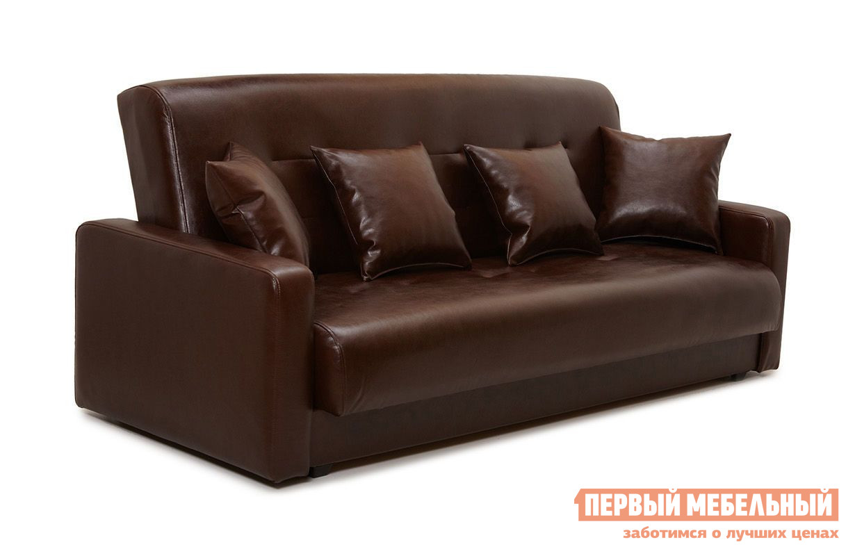 Диван Fotodivan Аккорд 120*190 Коричневая эко-кожа, Без подушек