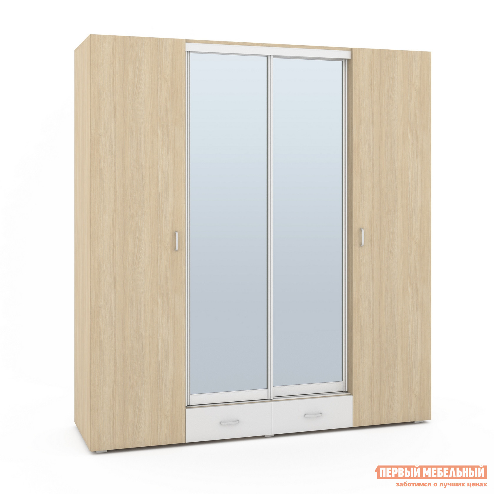 Шкаф-купе с зеркалом Первый Мебельный Шкаф 4-х дверный с зеркалом Линда