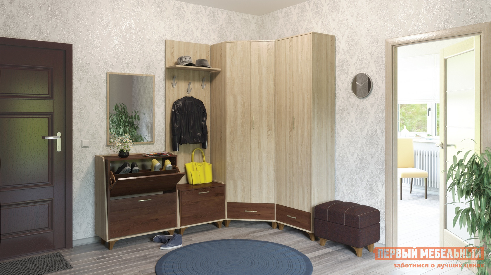 Прихожая в коридор с угловым шкафом Первый Мебельный Келли К2