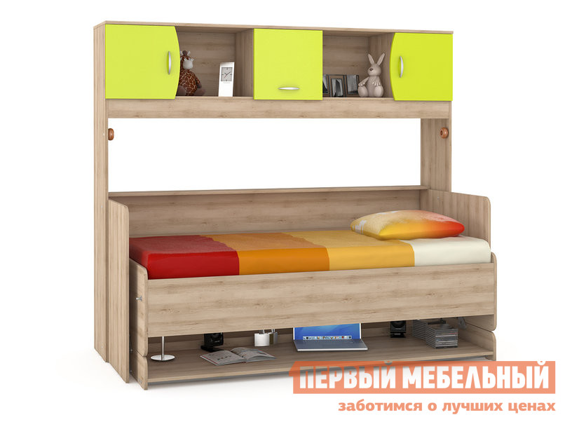 Детская кровать ПМ: MOBI Ника 428 Т Стол-кровать Бук песочный / Лайм Зеленый
