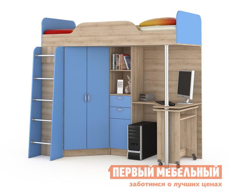 Кровать-чердак MOBI Ника 427 Т Кровать-чердак со столом Бук песочный / Капри Синий
