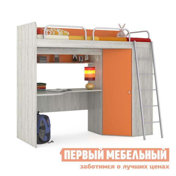 Кровать-чердак MOBI Тетрис 1 345 кровать-чердак + Тетрис 1 353 столешница Дуб Белый CRAFT / Оранжевый, Без матраса