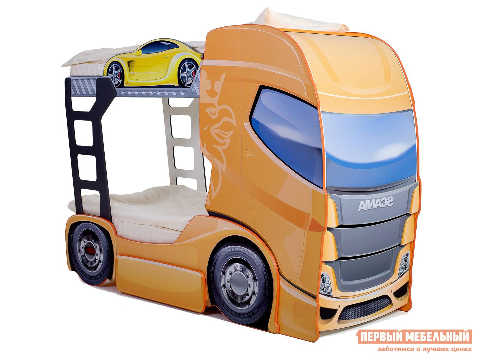 Детская двухъярусная кровать-машина Bed-mobile Скания+2 детская двухъярусная кровать с рабочей зоной боровичи кровать детская двухъярусная трансформер с ящиком и столиком