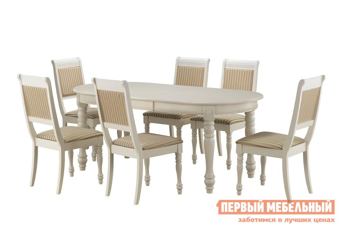 Обеденная группа для столовой и гостиной Mr. Kim Обеденная группа CH-T6EX и 6 стульев CH-SC BUTTER WHITE