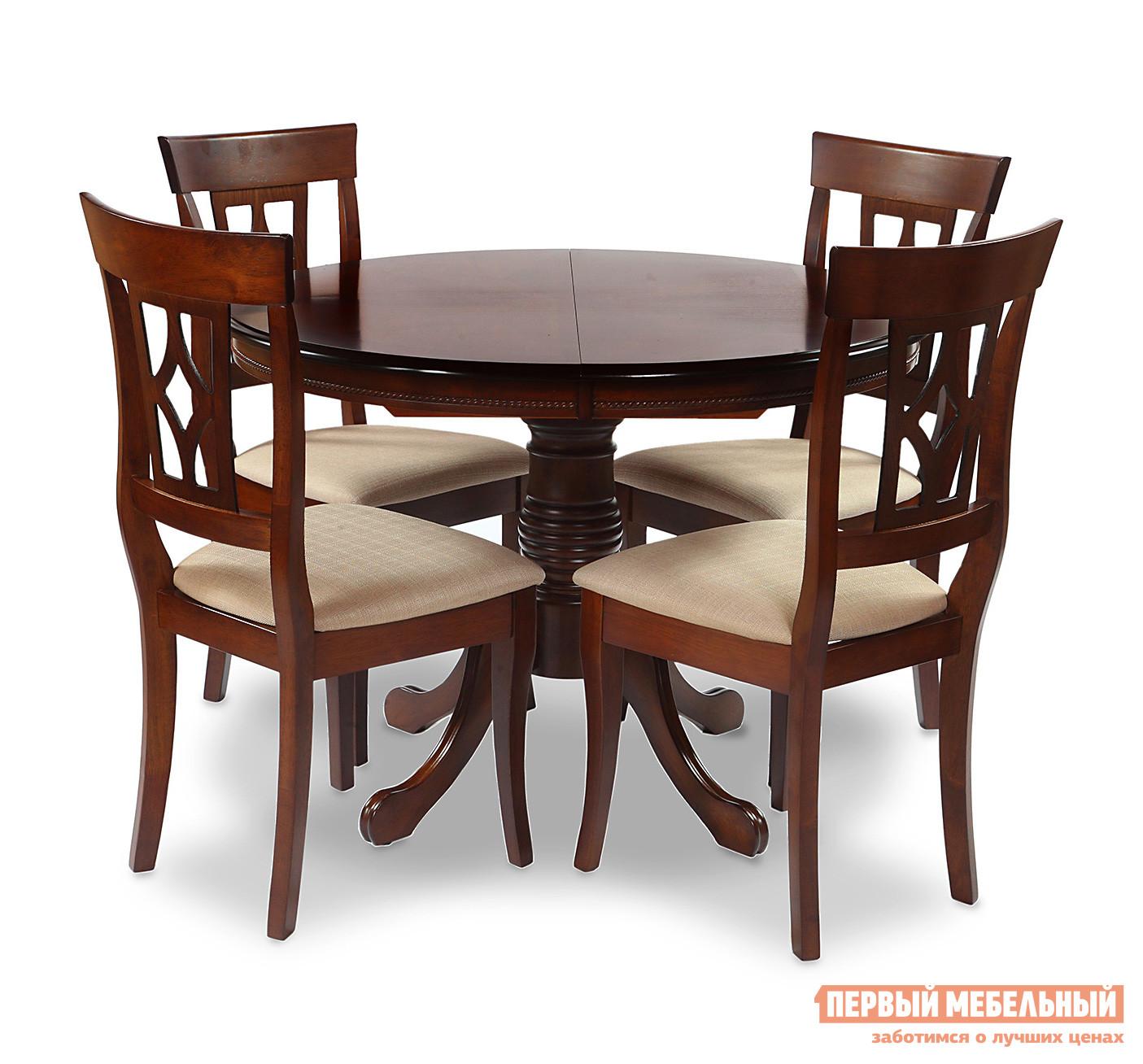 Обеденная группа для столовой и гостиной Mr. Kim Стол OP-T4EX + 4 шт. стула AM-SC2 TOBACCO